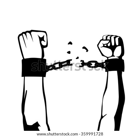 breaking the chain isolated - stock vector