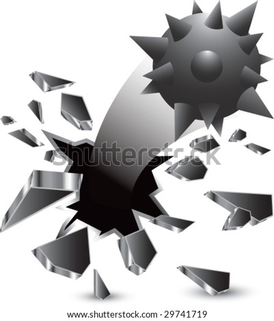breakthrough hole with spike ball - stock vector