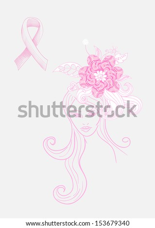 Breast cancer awareness concept: Beautiful Woman with flowers hand drawn illustration. EPS10 vector file with transparency organized in layers for easy editing. - stock vector