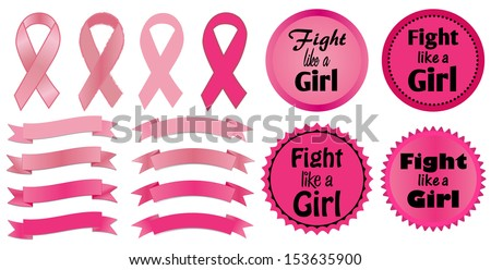 Breast Cancer Awareness-Fight like a Girl-Breast Cancer Awareness ribbons and Fight like a Girl stickers in various shades of pink