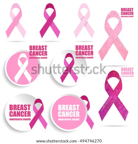 Breast Cancer Awareness Icons. Set of vector graphic images with pink ribbon.