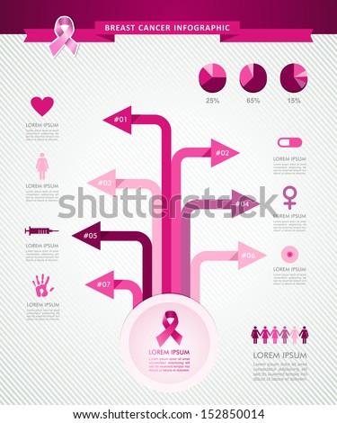 Breast cancer awareness infographics ribbon symbol with conceptual tree links information graphic icons template. EPS10 vector file organized in layers for easy editing. - stock vector