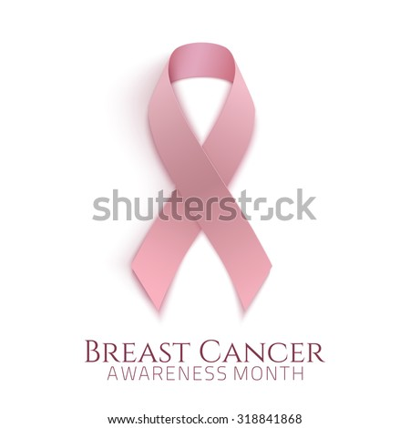Breast cancer awareness month. Background with pink ribbon. Vector illustration. - stock vector