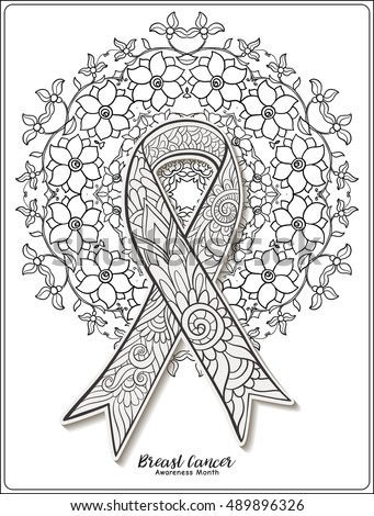 Exceptional Breast Cancer Awareness Month Decorative Pink Ribbon On Decorative Mandala  Background. Anti Stress Coloring Book