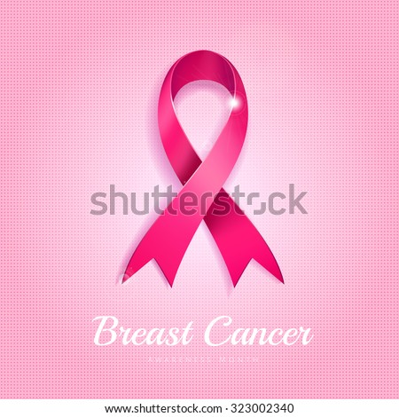 Breast cancer awareness month pink ribbon on pink dotted halftone background.  - stock vector