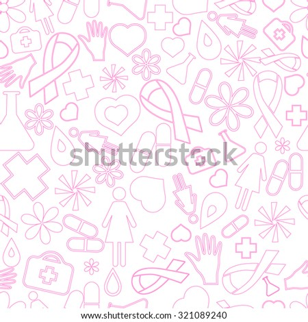 Breast Cancer Awareness Month,  pink seamless pattern  - stock vector