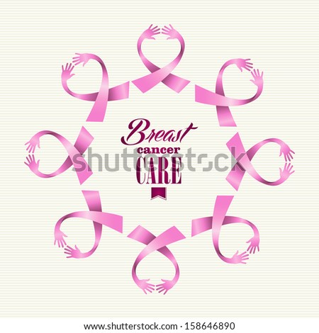 Breast cancer awareness ribbon elements women hands circle shape composition. Vector file organized in layers for easy editing.  - stock vector