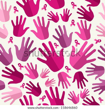 Breast cancer awareness ribbon elements women hands seamless pattern background. Vector file organized in layers for easy editing.   - stock vector