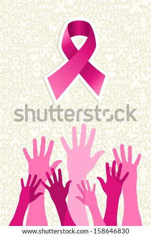Breast cancer awareness ribbon elements women hands shape composition. Vector file organized in layers for easy editing.  - stock vector