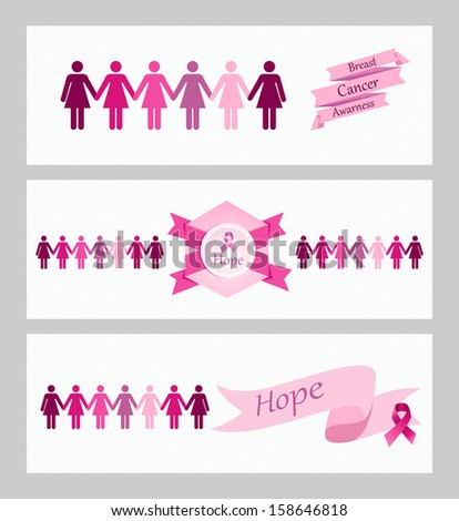 Breast cancer awareness ribbon women figures and elements web banners set. Vector file organized in layers for easy editing.  - stock vector