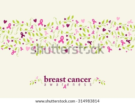 Breast cancer awareness seamless pattern with pink ribbon, heart shape and spring nature elements. EPS10 vector file. - stock vector