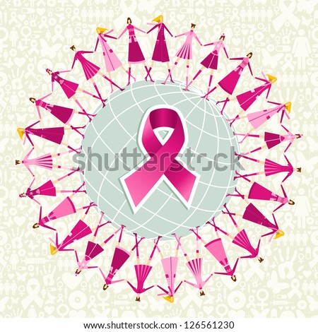 Breast cancer care globe awareness ribbon with women teamwork. Vector file layered for easy manipulation and custom coloring. - stock vector