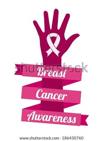 Breast cancer design over gray background, vector illustration - stock vector