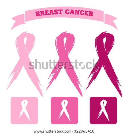 breast cancer icons - stock vector