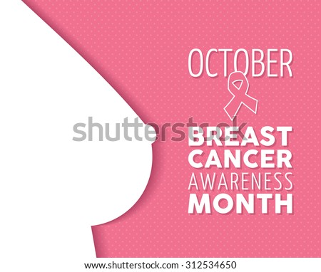 Breast cancer october awareness campaign composition: female body silhouette and text with ribbon element on pink polka dot background. EPS10 vector file. - stock vector