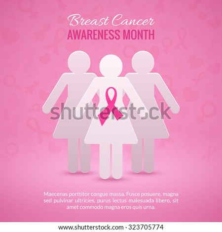 Breast Cancer October Awareness Month Campaign Background with paper girl silhouettes and pink ribbon symbol. Vector illustration - stock vector