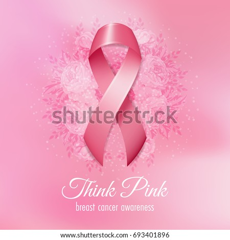 Breast cancer pink ribbon flowers on stock vector 693401896 breast cancer pink ribbon with flowers on pink background vector illustration mightylinksfo