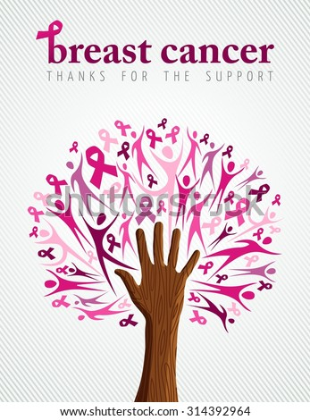 Breast cancer support illustration of tree made with pink silhouette and ribbon collage for poster or campaign. EPS10 vector file. - stock vector