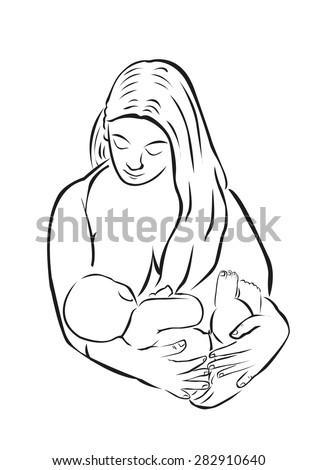 Breastfeeding Line Art style. Editable Clip Art Drawing. - stock vector