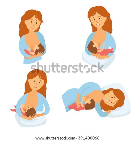 Breastfeeding position. Mother feeds baby with breast. Comfortable pose for feeding child. Mom lactation infant milk. Motherhood and childhood. Woman breastfeed baby in different poses. Cartoon vector - stock vector