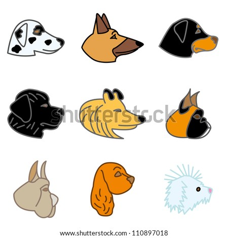 breeds of dogs icons in vector
