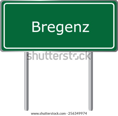 Bregenz, Austria, road sign green vector illustration, road table - stock vector