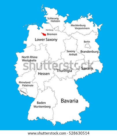Bremen state map, Germany, vector map silhouette illustration isolated on Germany map. Editable blank vector map. Province in Germany.