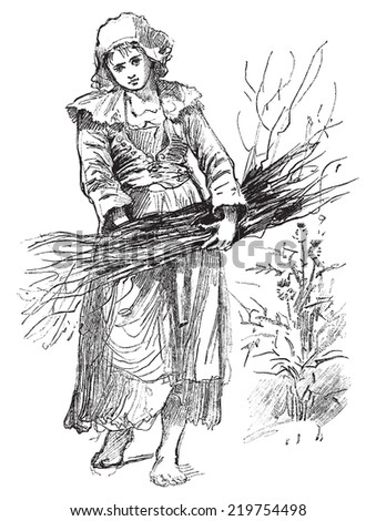 Breton servant, vintage engraved illustration. Journal des Voyages, Travel Journal, (1879-80). - stock vector