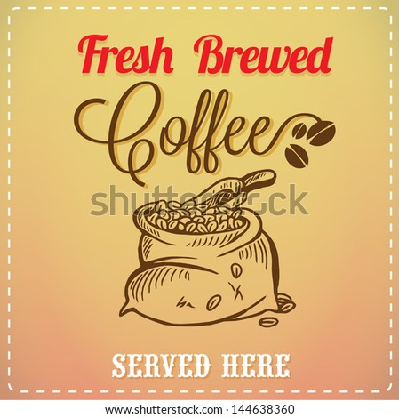 Brewed Coffee Background Vintage Card - stock vector