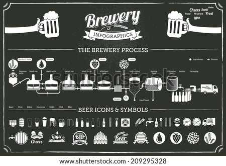 brewery infographics - beer design elements, labels, symbols, icons on dark background - stock vector