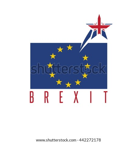 Brexit concept vector illustration with United Kingdom and EU flags