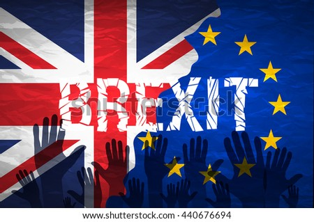 Brexit cracks Text Isolated. United Kingdom exit from europe relative image. Brexit named politic process. Referendum theme art - stock vector