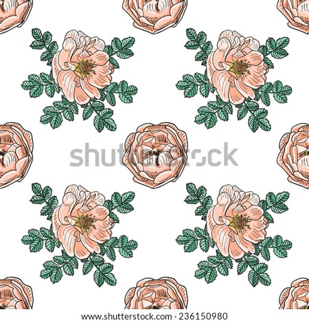 Briar rose sketch seamless pattern. Pink flowers with black outline on white background. Vector illustration. - stock vector