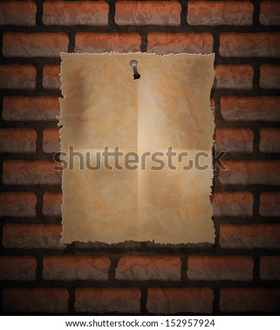 Brick background and old paper sheet nailed - stock vector