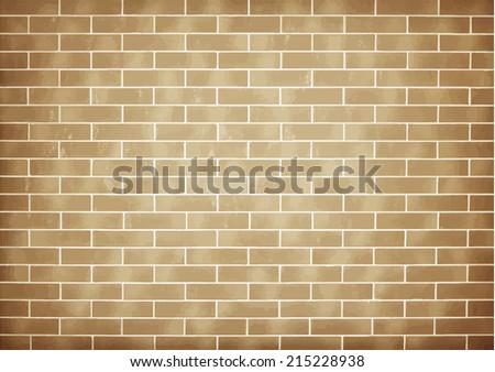 Brick brown vector wall background - stock vector