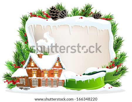 Brick cottage with snow-covered roof and Christmas wreath with old parchment, ribbon and berries - stock vector