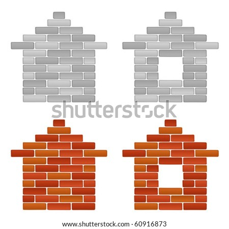 Brick house - stock vector