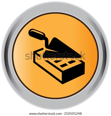 Brick, icon, trowel  - stock vector