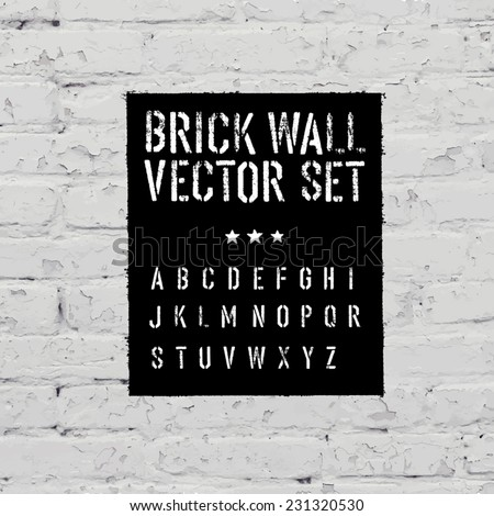Brick traced texture, stencil alphabet and grunge rectangle. Three in one.  Vector set - stock vector