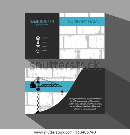 Brick Wall and crane Business Card . Vector illustration eps 10 - stock vector