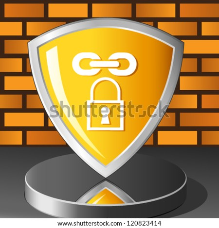 brick wall and security shield - stock vector
