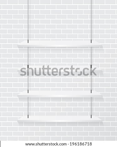 Brick wall and white shelve - stock vector