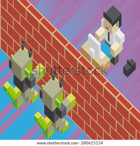 Brick wall between computer virus and worker A firewall, between computer viruses and a worker,in isometric old video game style. The grunge texture is removable from the background.  - stock vector