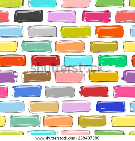 Brick wall colorful, sketch for your design, vector illustration