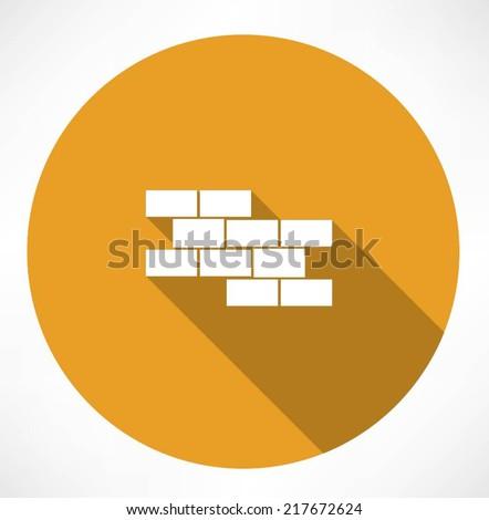 brick wall icon - stock vector