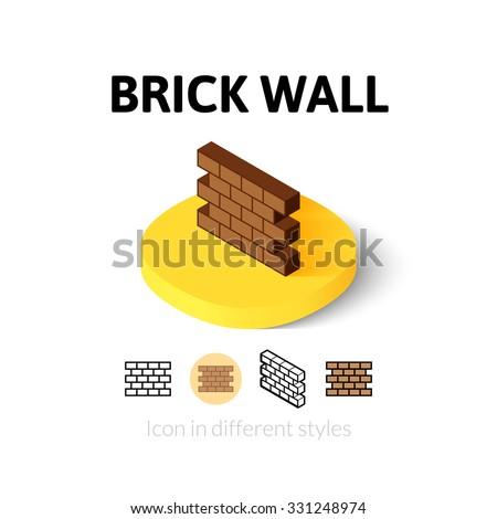 Brick wall icon, vector symbol in flat, outline and isometric style - stock vector