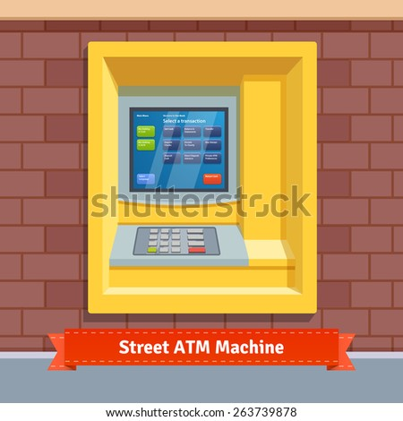 Brick wall mounted outdoor ATM machine. Flat style vector illustration. - stock vector