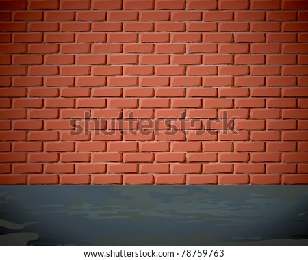 Brick wall on the street - stock vector