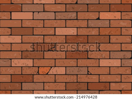 Brick wall seamless vector pattern (done using clipping mask - easily editable) - stock vector
