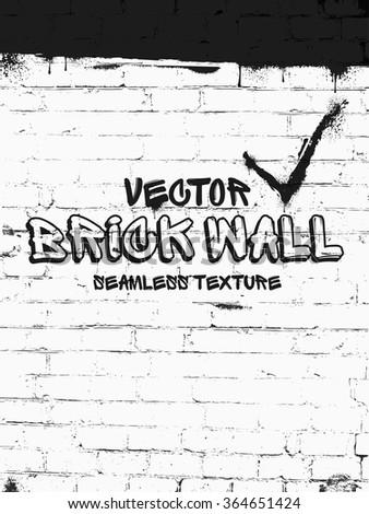 Brick wall seamless vector pattern. White grunge brick wall background - stock vector